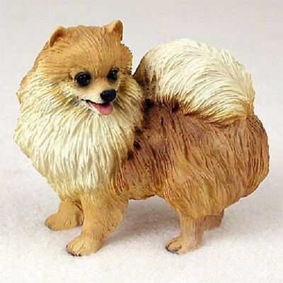 POMERANIAN FIGURINE dog HAND PAINTED Resin Statue RED  puppy Pom Collectible NEW
