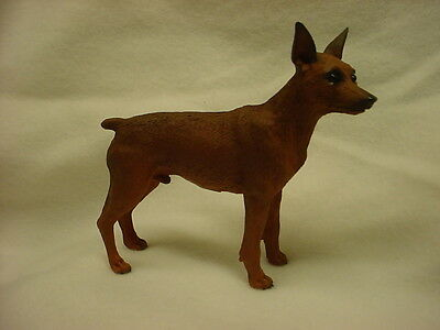 MIN PIN Dog Figurine HAND PAINTED Statue Red Brown Puppy NEW MINIATURE PINSCHER