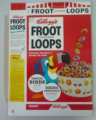 1968 Kellogg's Froot Loops Tropical Birds #3 Kingfisher Ad Unused Cereal Box