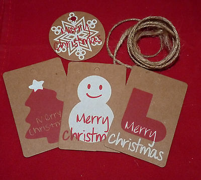 10 Kraft Brown Christmas Paper Label/tags + String - 4 Designs #craft/gift Wrap