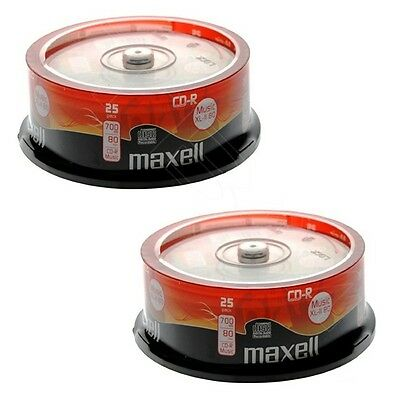 50 x Maxell CD-R Audio Rohlinge CDR XL-II 80 Musik Spindel
