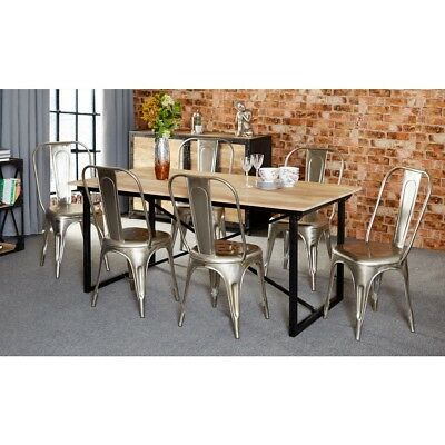 Jupiter 100% Reclaimed Wood Furniture 6ft Dining Table with 6 Chairs