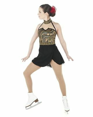 New Competition Skating Dress Xpression 1401 Tango Black Silver Gold CL 10-12