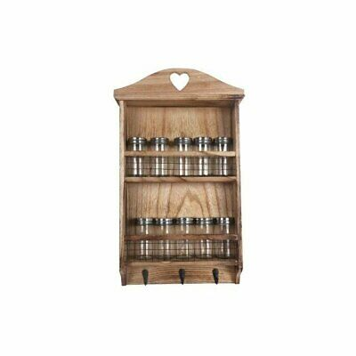 Shabby Chic Rustic Wooden Hanging Spice Rack Kitchen Herbs Storage & 10 Jars