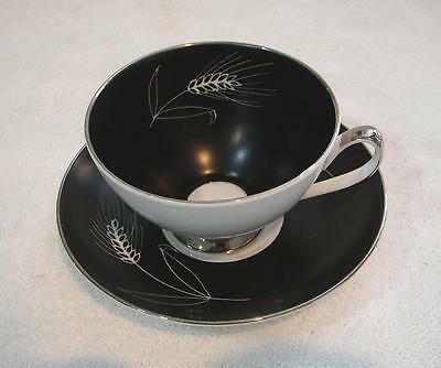 Vintage RETRO Queen Anne Cup and saucer Black Wheat