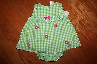 NWT Gymboree Spring Blossom 6-12 Months Green Gingham Flower One-piece Romper