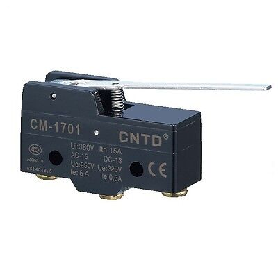 Micro Limit Switch Long Lever Arm SPDT Snap CNTD CM-1701 TEMCo HEAVY DUTY