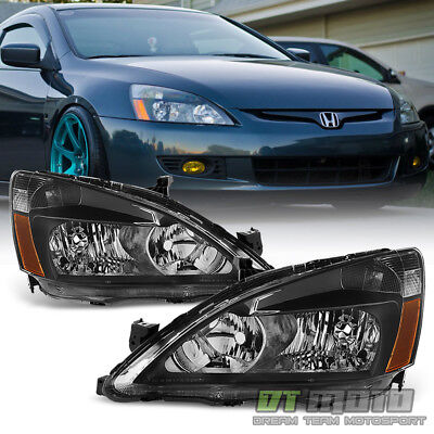 For Black 2003-2007 Honda Accord 2Dr 4Dr Crystal Headlights Headlamps Left+Right