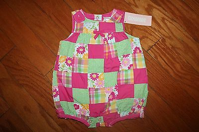 NWT Gymboree Spring Blossom 6-12 Months Pink Green Patchwork Bubble Romper