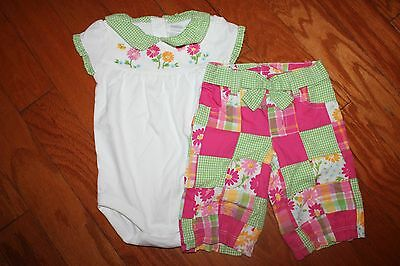 NWT Gymboree Spring Blossom 6-12 Mo Set White Flower Bodysuit Patchwork Pants