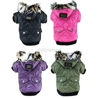 Waterproof Coat Pet Small Dog Puppy Hoodie Thick Jacket Clothes Apparel Outwear