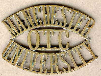 Military Great Britain Manchester University Officers Metal Shouder Titles Ww2+