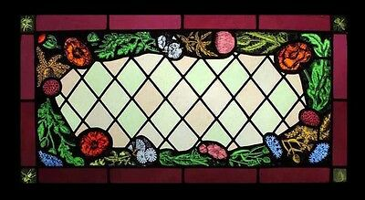 Amazing Victorian Antique English Stained Glass Window With Painted Flowers