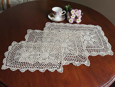 Hand Crochet Lace Doily Doilies Mat Placemat Topper Oblong in 3 Sizes Ecru Beige