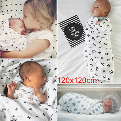 Baby Swaddling Blanket Soft Muslin Newborn Infant 100% Cotton Swaddle Towel