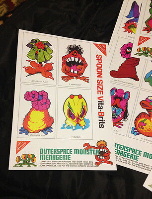 Repro Of Monster Menagerie Cereal Toy Cards -  Full Set And Back Panel! Aussie!
