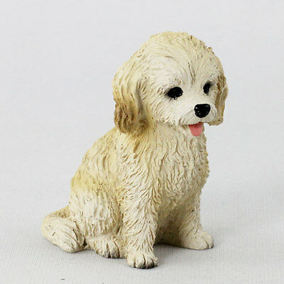 BLOND COCKAPOO puppy TiNY DOG Figurine HAND PAINTED MINIATURE Collectible Statue