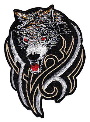 ad59 Wolf Hund Tattoo MC Biker Kutte DIY Aufnäher Applikation Bügelbild Flicken