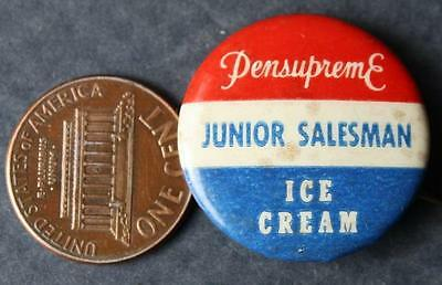 1950-60s Era Pennsylvania Pennsupreme Ice Cream Junior Salesman RWB pin-VINTAGE!