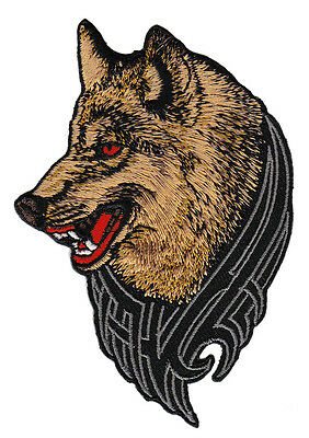 ad68 Wolf Hund Tattoo MC Biker Kutte DIY Aufnäher Applikation Bügelbild Flicken