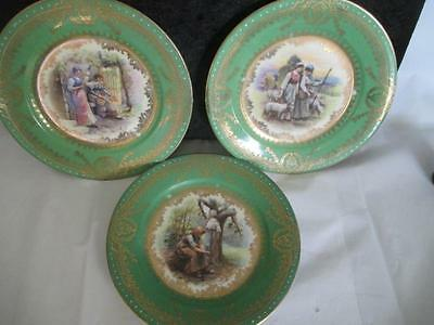 "D2 Imperial Crown China 6"" Decorative Plates Peasant Women Art Scenes"