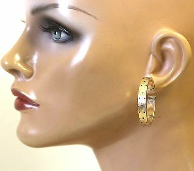 14k yellow gold ladies textured hollow hoop earrings 6.5g vintage estate fashion