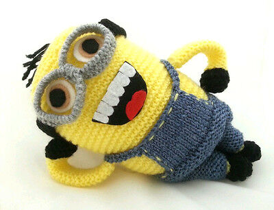 "Knitted Minion doll #3, NEW handmade crocheted 9"" plush toy with two eyes, Phil?"
