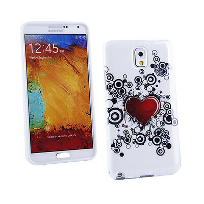 Gel Case+Car Charger for Samsung Galaxy Note 3-White/Red/Black Tattoo Heart