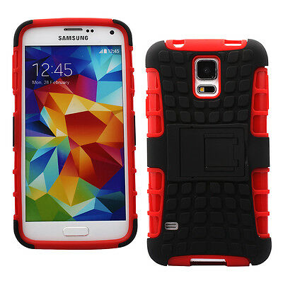 Dual Heavy Duty Hard Case/ Kick Stand+Car Charger+... for Samsung Galaxy S5-Red