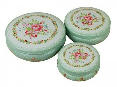 Divine Set Green Pink Rose Tin Shabby Cabbage Rose Cake Biscuits Tins Canisters