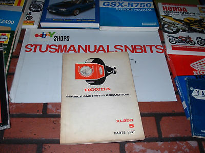 Genuine Honda Parts Catalogue For Xl250. 1977