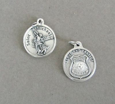 Saint St. MICHAEL Charm Holy Medal ROUND Police Officer Protect Policemen M217