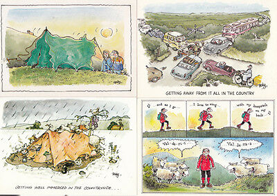 Caravan Holiday Tent Peace & Quiet Wrecked Disaster 4x Comic Humour Postcard s