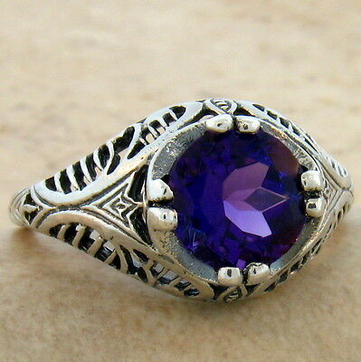 1.5 Ct Lab Amethyst 925 Sterling Silver Antique Filigree Style Ring Sz 7.5,#702