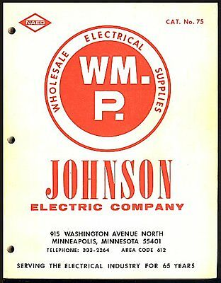 1975 JOHNSON Electric Company Catalog Wholesale Electrical Supplies Minneapolis