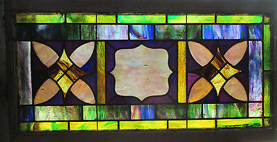 ANTIQUE AMERICAN STAINED GLASS TRANSOM WINDOW 42 x 23 ~ ARCHITECTURAL SALVAGE ~