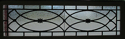 ANTIQUE AMERICAN STAINED GLASS TRANSOM WINDOW 54 x 17 ~ ARCHITECTURAL SALVAGE ~
