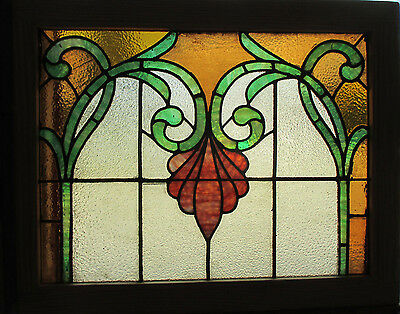 ANTIQUE AMERICAN STAINED GLASS WINDOW 30 x 24 ~ ARCHITECTURAL SALVAGE~