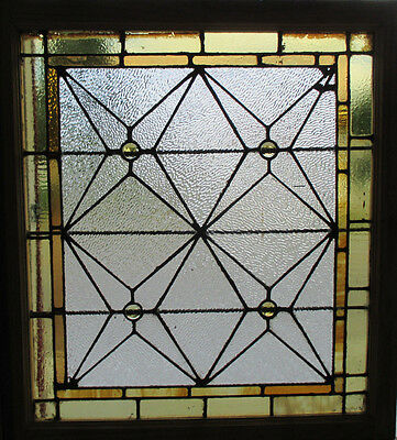 ANTIQUE AMERICAN STAINED GLASS WINDOW 34 x 37 ~ ARCHITECTURAL SALVAGE~