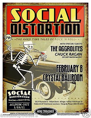 "Social Distortion ""hard Time Tales Of R 'n R"" 2011 Portland Concert Tour Poster"