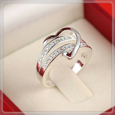 Zircon Crystal Engagement Heart Ring Women's 925 Silver Wedding Band Size 5-11
