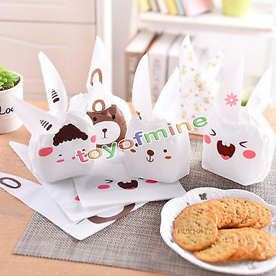 10/20 pcs Cute Rabbit Xmas Party  Candy Favor Cookies Pack Bag Snack Wrap Gift