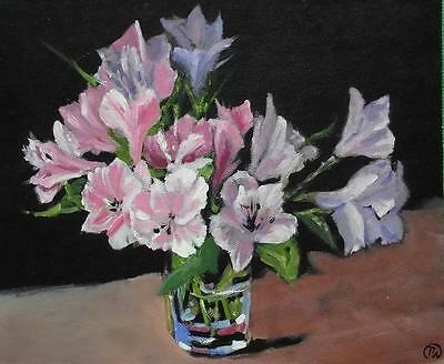 Pink Lillies in a Glass : Original Oil Painting by Terry  Wylde