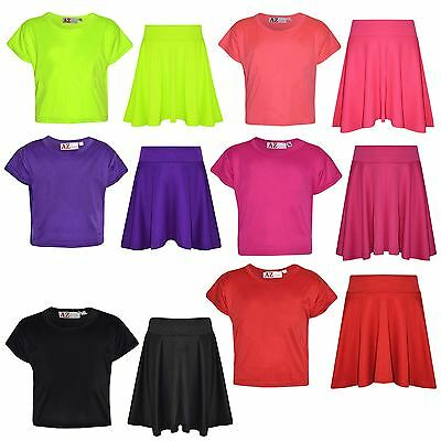 Girls Top Kids Plain Color Stylish Crop Top & Skater Skirt Set Age 7-13 Years