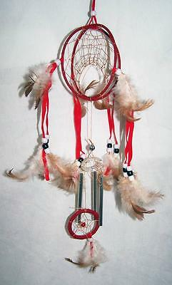 882a5762b9a7 RED DOUBLE LOOP 18 INCH DREAMCATCHER real feathers chimes beads dream  catcher