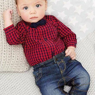 2pcs Newborn Infant Kids Baby Boy Romper Jumpsuit+Jeans Pants Clothes Outfit Set