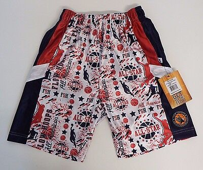 Youth Large All American Hoops Mesh Athletic Shorts Navy Flow Society