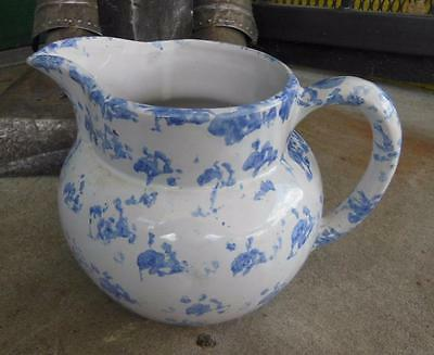 Bybee Pottery Ky Kentucky Blue Spongeware Ball Hand Thrown Water Juice Pitcher