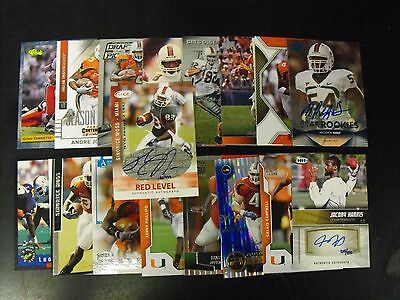 Miami Hurricanes 25 Card Lot With  Autographs