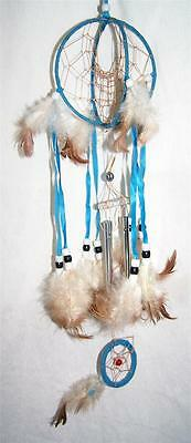 e97204d51e53 BLUE DOUBLE LOOP 18 INCH DREAMCATCHER real feathers chimes beads dream  catcher